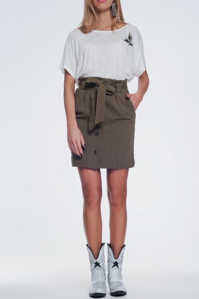 Mini saia cáqui com botões frontais