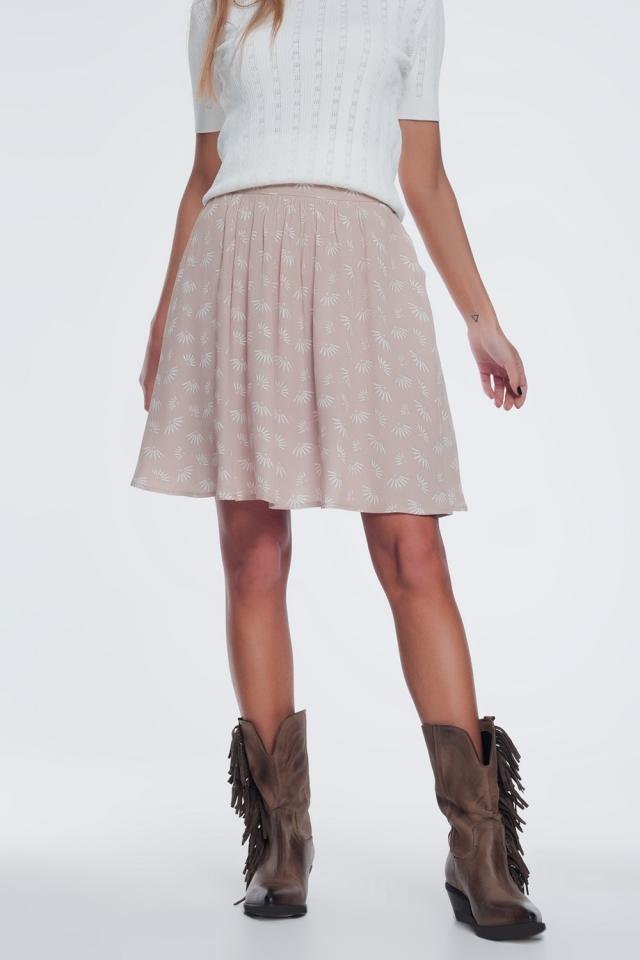Mini-saia com voo e design floral vintage em bege