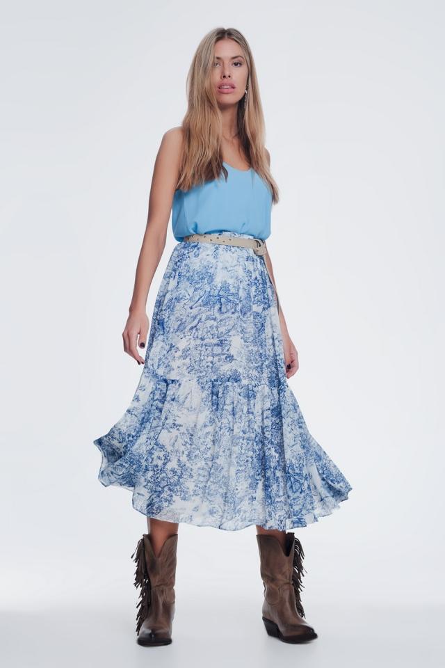 saia midi plissada estampada em azul