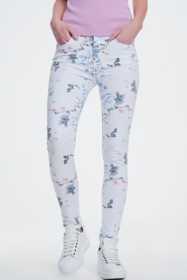 calças skinny branco com estampa floral