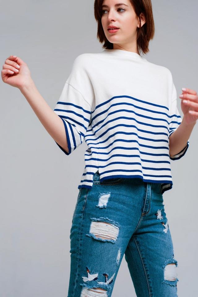 Camisola leve detalhe de botão com listras Azul