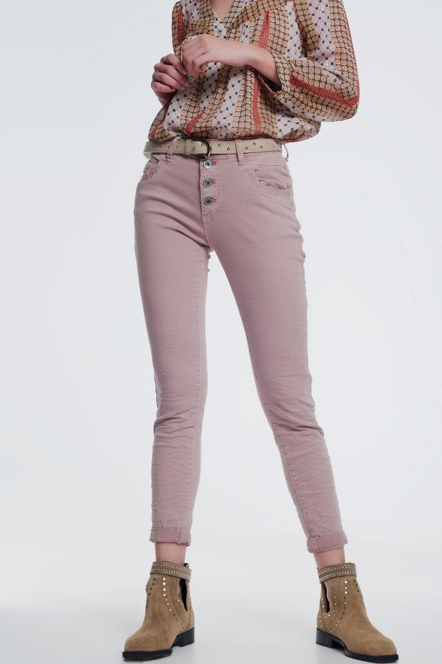 Calças de ganga balão perna Boyfriend em rosa
