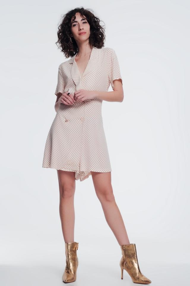 vestido de botão frontal em bege