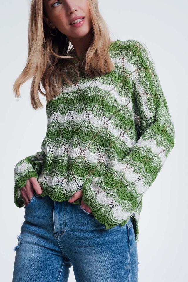 Camisola de malha listrada verde