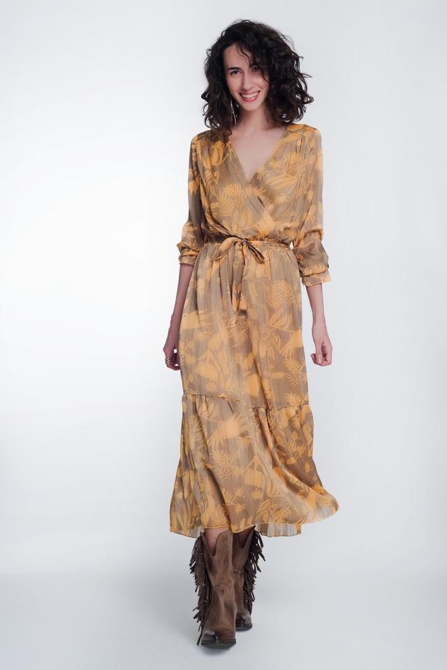 Midi vestido em mostarda com estampa floral
