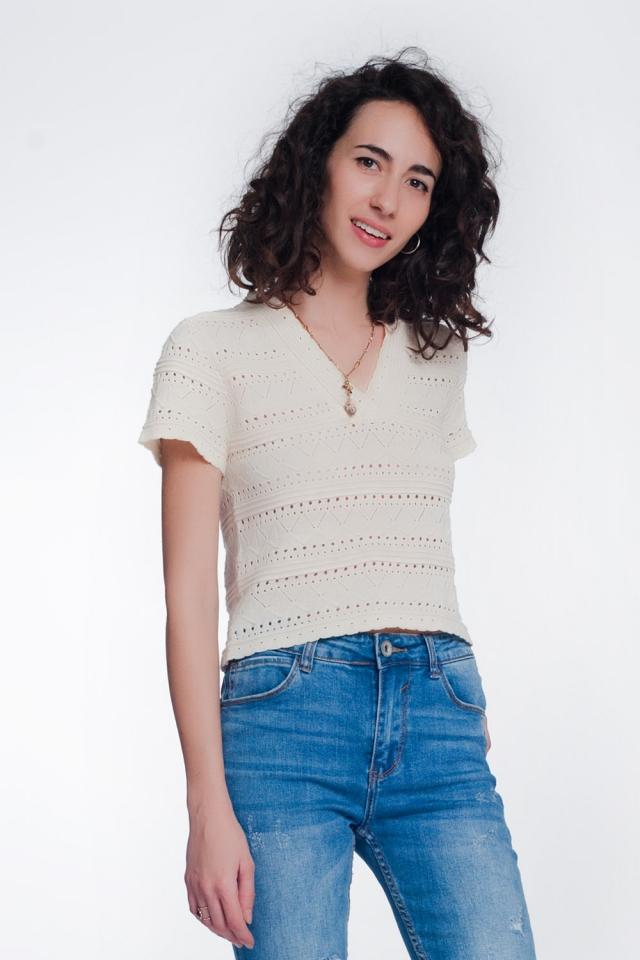 Camisola de crochê texturizada