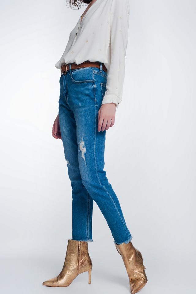 Calças de ganga de ajuste reto com rasgo no joelho em azul