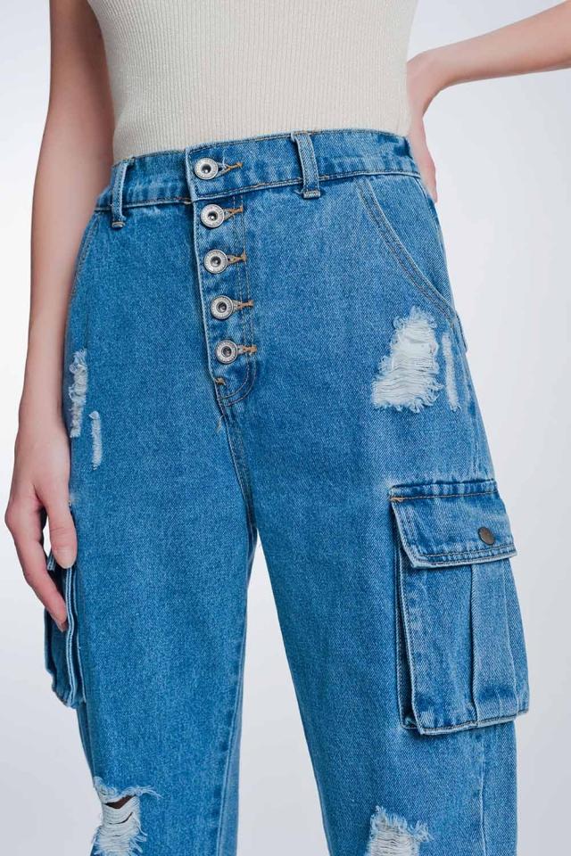 Calças de ganga rígidos clássicos com bolsos de carga de lavagem claro