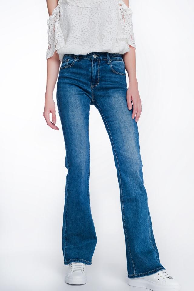 Calças de ganga skinny de cintura alta com lavagem autêntica