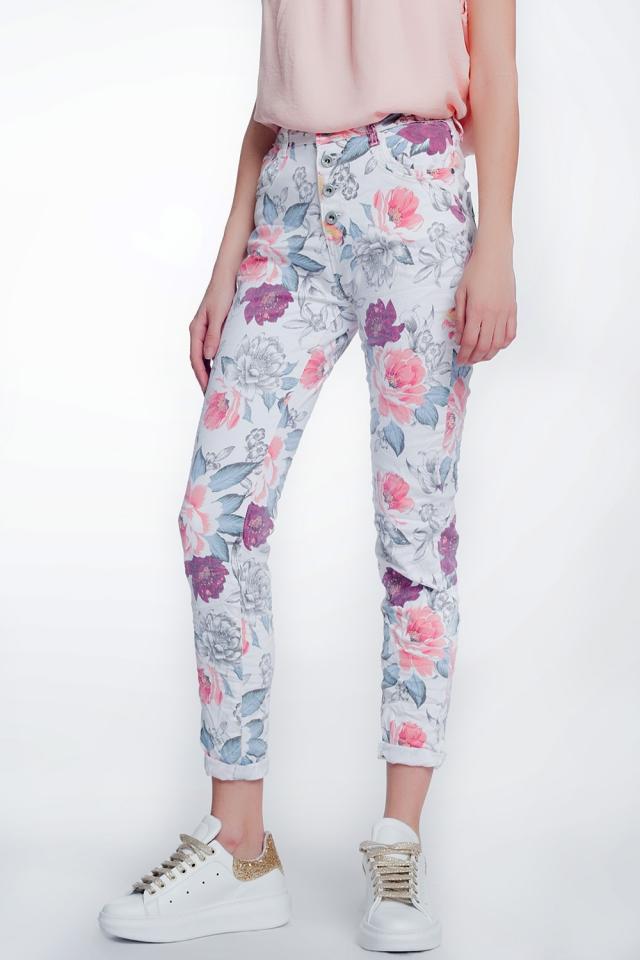 Calças branco namorado com estampa floral