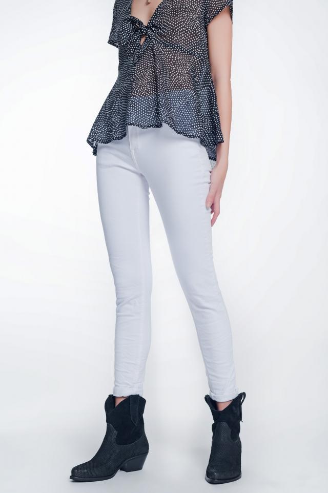 Calças skinny de cintura alta em branco