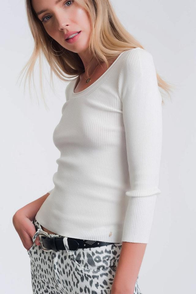 Camisola com decote largo branco