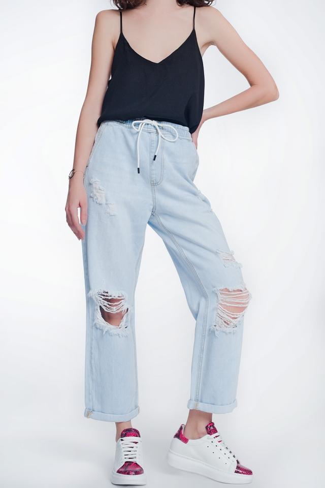 Calças de ganga em azul claro de cintura alta e reta