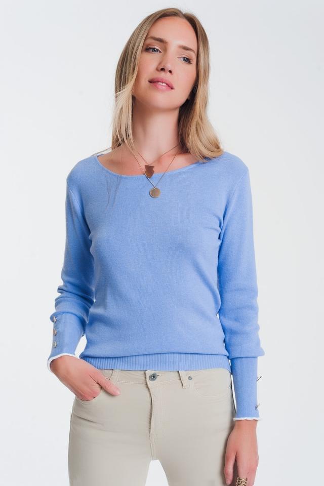 Suéter azul de barco com botões