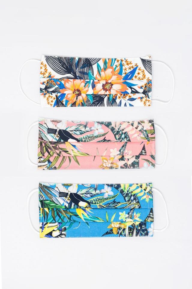 3 PACK Máscara de Impressão Tropical Mix Color