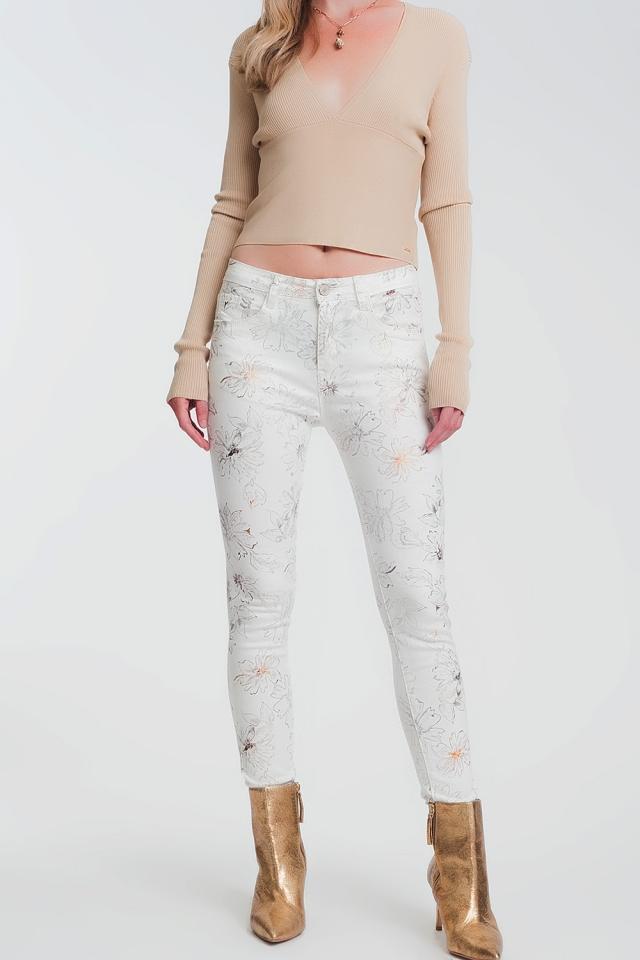 Calças super skinny brancas com estampado floral
