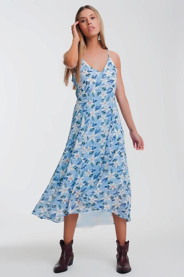 Vestido longo azul com tiras finas