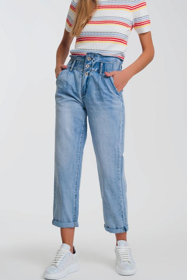 Calças de ganga mãe com elástico na cintura e três botões