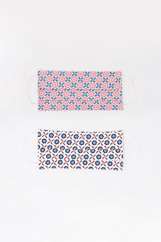 2 PACK máscara branca e rosa de impressão geométrica