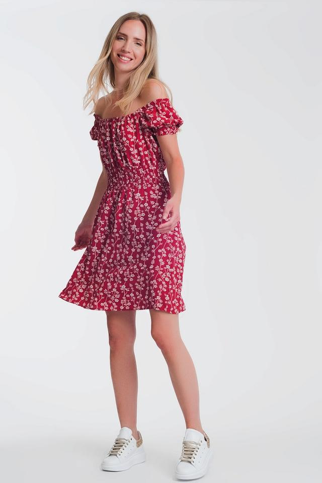 Vestido curto de verão com decote Bardot e estampa floral Vermelho