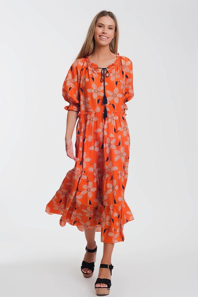 Vestido longo e macio com mangas bufantes e estampa floral vintage