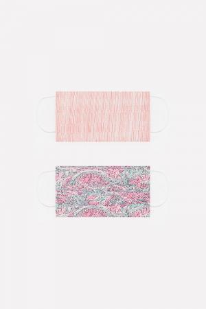 2 PACK Máscara algodão orgânico com impressão rosa