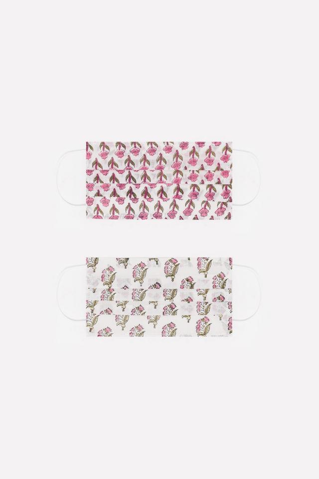 2 PACK Máscara algodão orgânico com impressão flores rosa