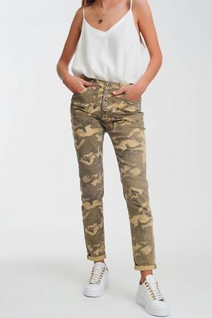 Calças funcionais com estampa de camuflagem