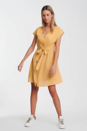 Vestido com flores avental mustard com botões