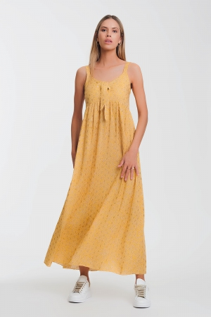 Vestido midi amarelo com laço frontal e estampa floral