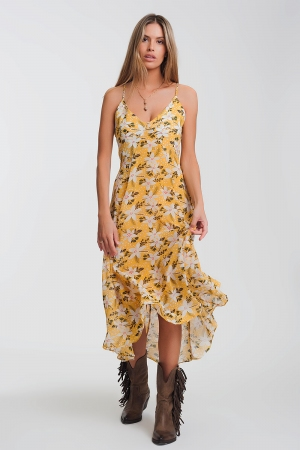 Vestido longo amarelo com tiras finas