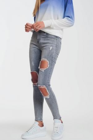 Calças de ganga super skinny cinza envelhecido com rasgos