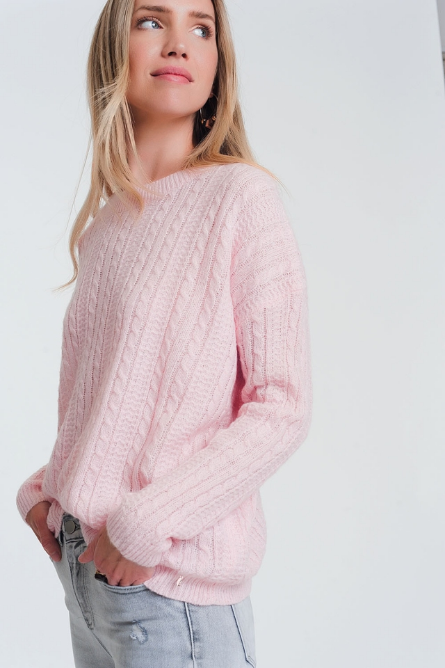 Cable knit pink sweater