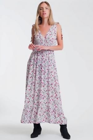 Vestido lungo com cintura franzida em estampa floral