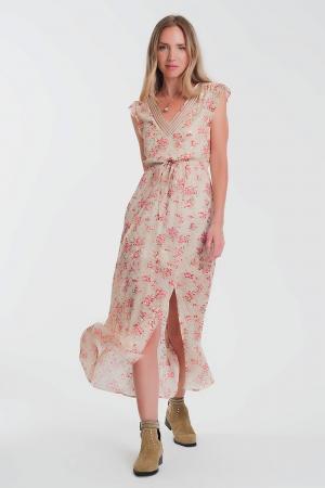 Vestido lungo de costas abertas em bege floral