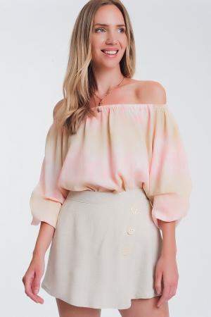 Top com ombros nus tie dye rosa