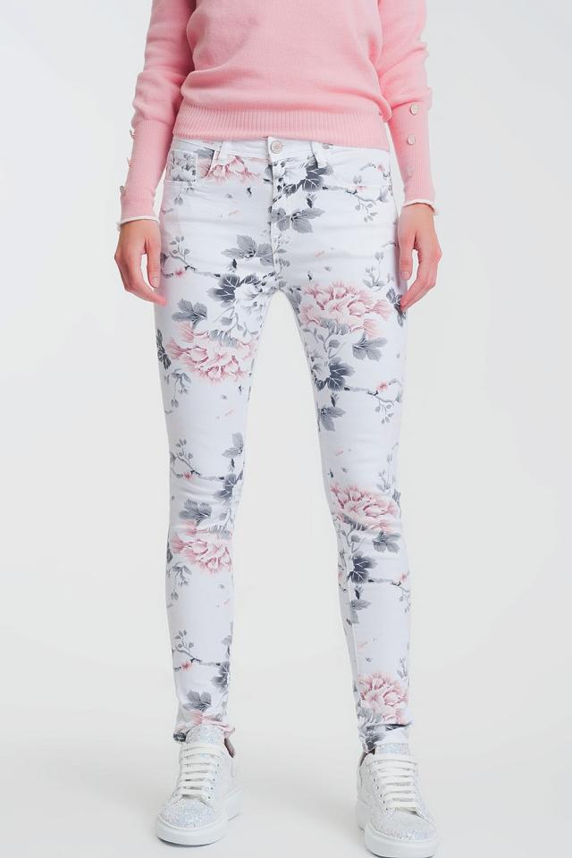 Calças super skinny branco com estampa floral