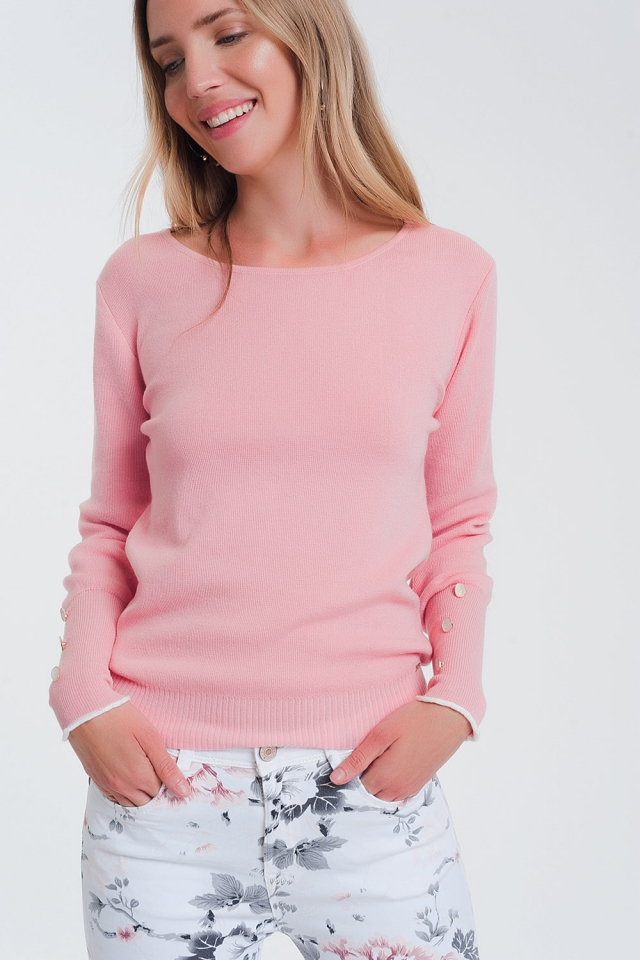 Suéter rosa de barco com botões