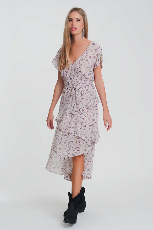 vestido lungo com saia em camadas macias em estampado de flor rosa
