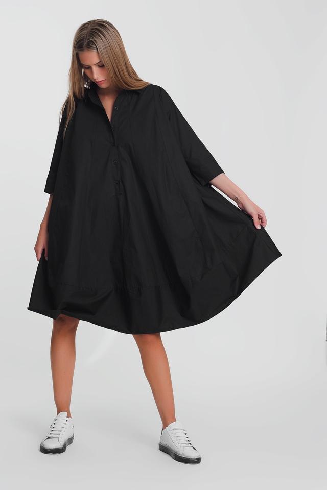 Vestido de popeline oversized de algodão preto