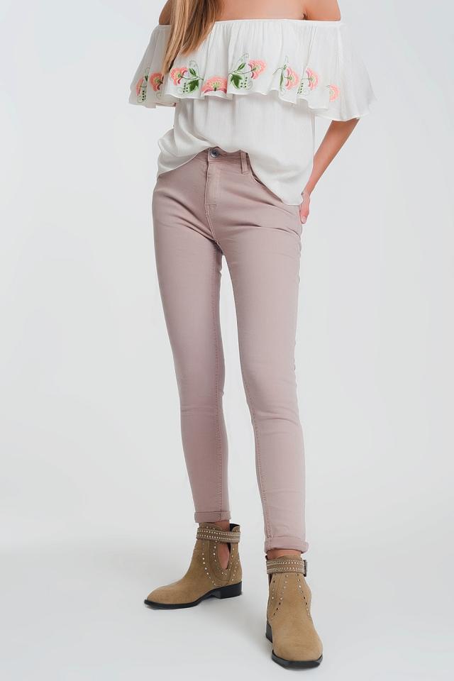 Calças super skinny de cintura alta em rosa