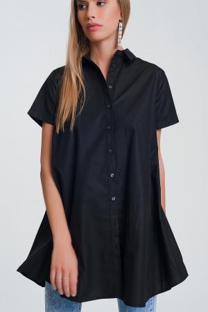 Camisa popeline oversize de mangas curtas em preto