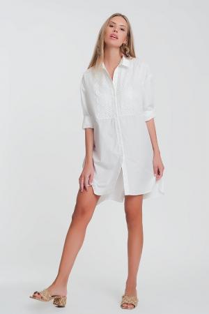 Vestido de camisa de popeline com detalhe de renda em branco