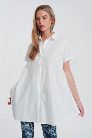 Camisa popeline oversize de mangas curtas em branca