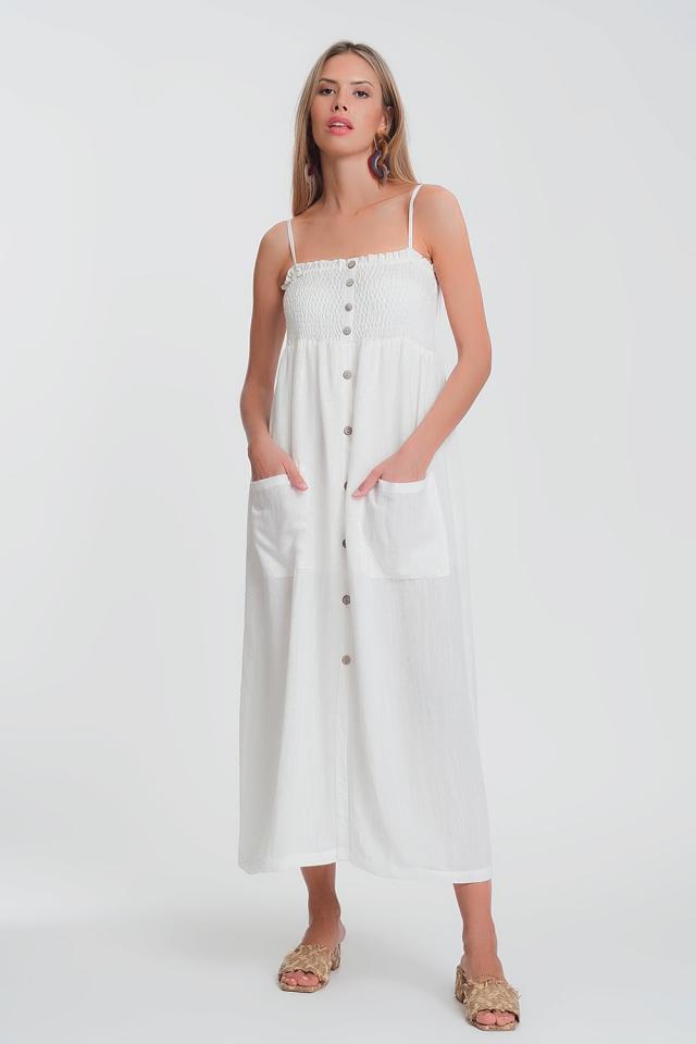 Vestido comprido em branco com corpete amassado