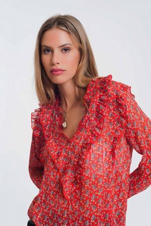 Blusa com decote em V e folho em floral vermelho