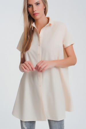 Camisa popeline oversize de mangas curtas em bege