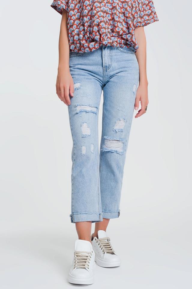 Jeans rasgados straight em denim claro