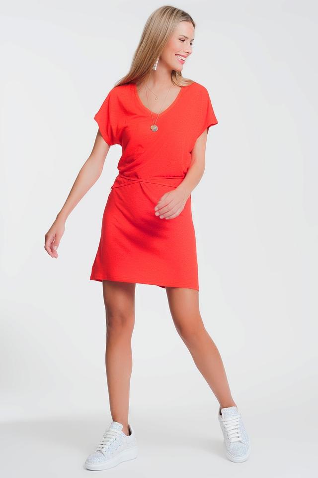Vestido de gola v vermelho em malha fina