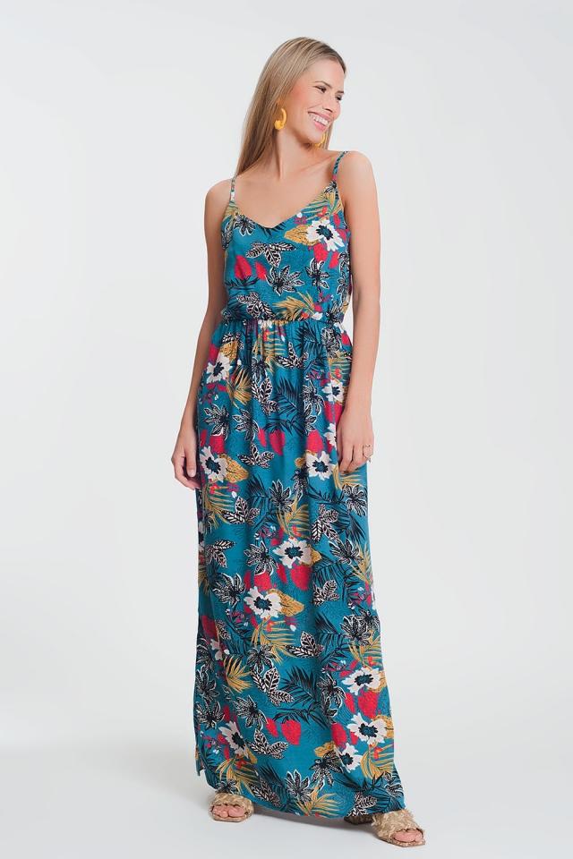 Vestido longo floral com cintura alta
